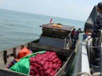 KRI Rusa Tangkap Kapal Muat Ratusan Karung Bawang Ilegal dari Malaysia